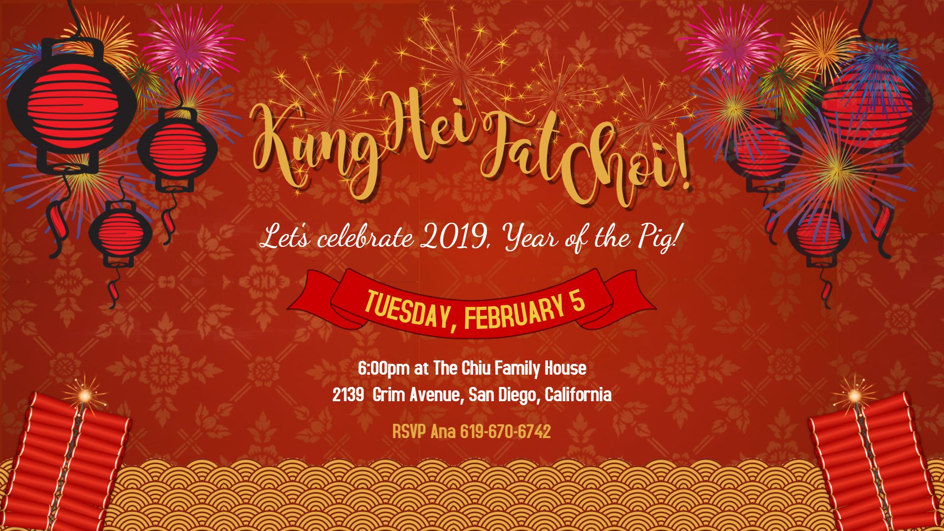 Chinese New Year Traditional Party Invitation Poster Chinese New Year Fireworks Bbq Party Invitations New Year Fireworks