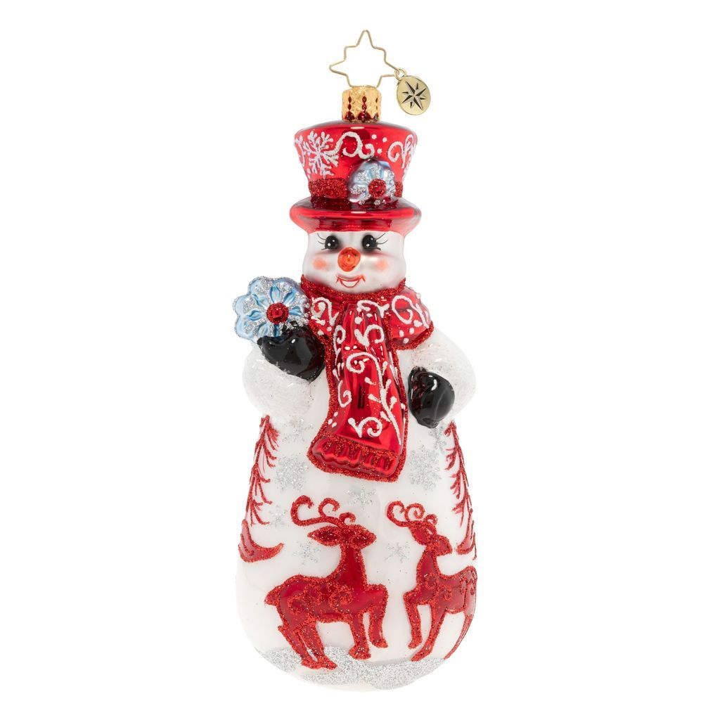 White Christmas 2020 Usa Christopher Radko Ruby Red Snowman Reindeer Ornament in 2020