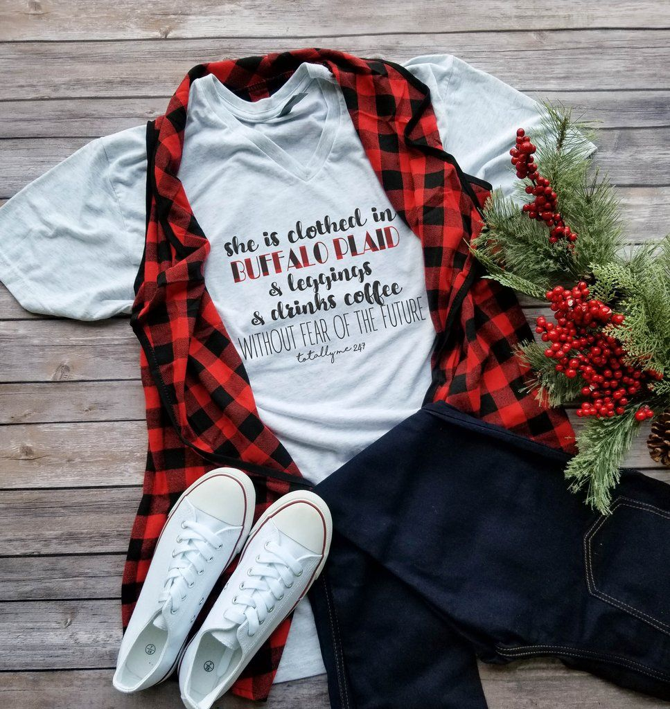 dbd08a07e5 She Is Clothed In Buffalo Plaid Printed Tee