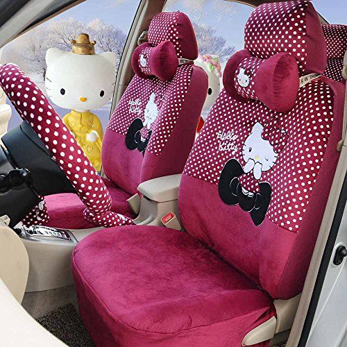 Hello Kitty 18pcs Rose Red Winter Warm Women Car Seat Covers Steering Wheel Cover