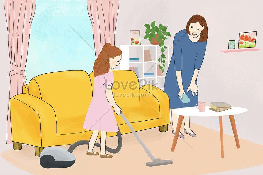 방을 청소하다 정말 날 노동 청소 어머니 딸 어머니 여자 청소기 하 카펫 의류 시계 열심히 소파 시계 방 그림 그리기 손 집 집 거실 방 그림 그림 그리기 카펫