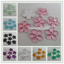 100pcs 16mm Flatback Blossom Acrylic DIY Rhinestone Scrapbooking Craft Beads