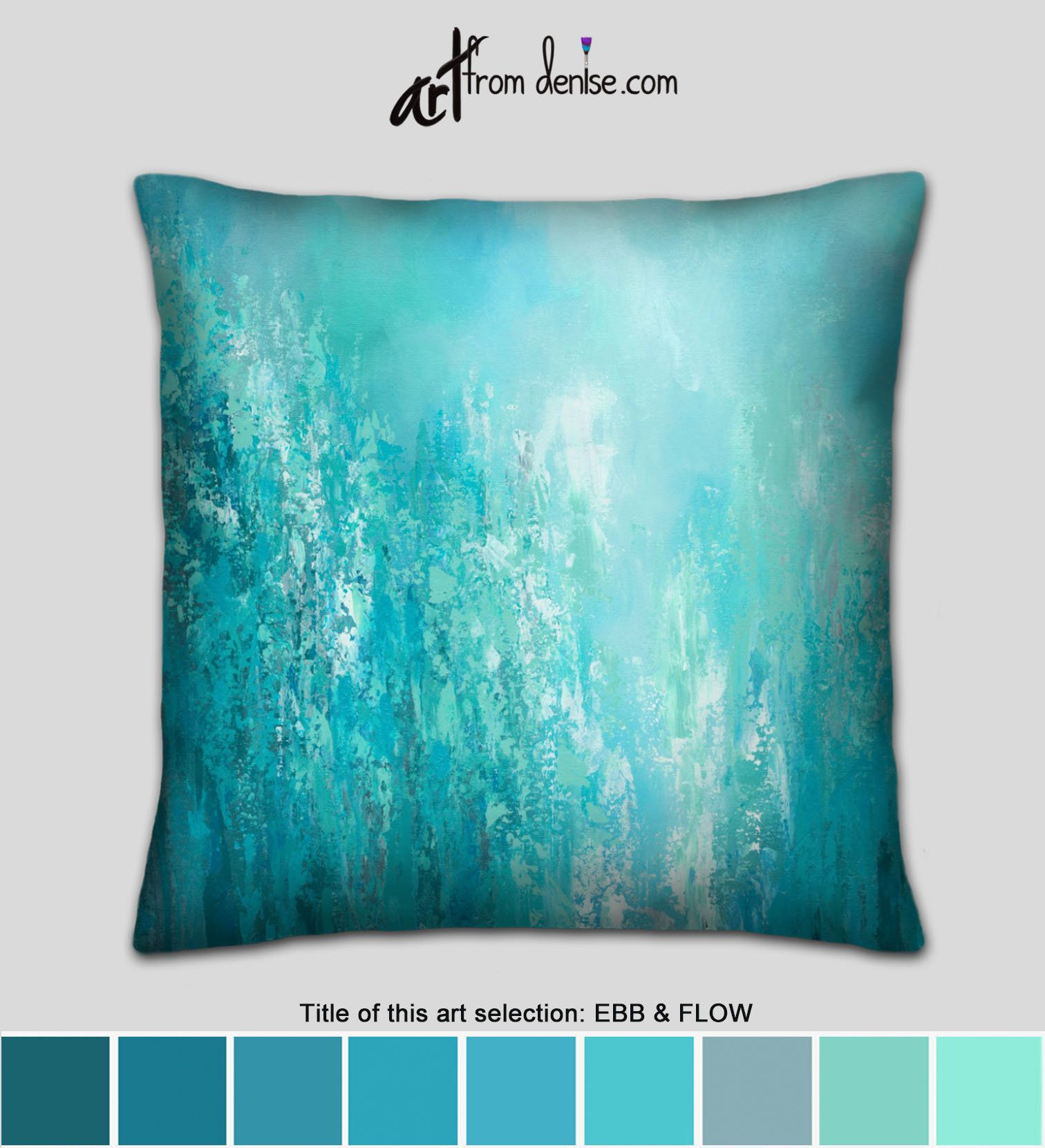 Oversized Turquoise Gray Teal Throw Pillows Or Decorative Accent