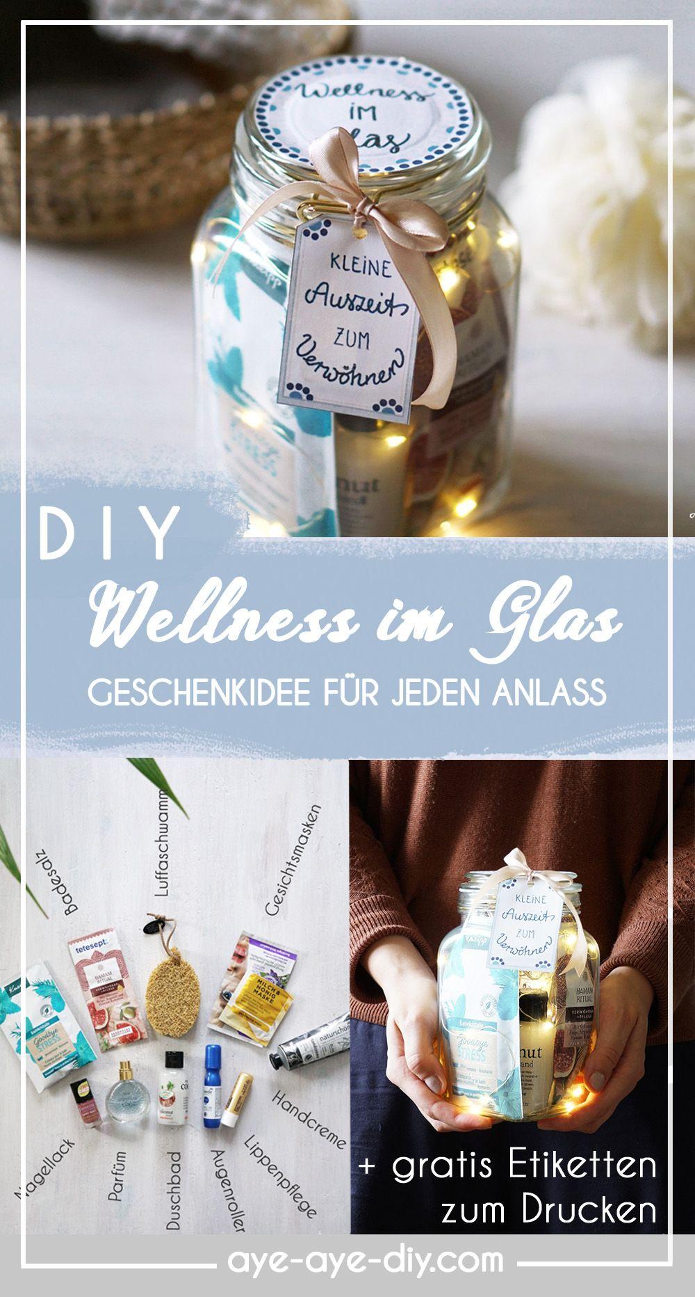 Wellness im Glas: DIY Geschenk mit Gutschein basteln + gratis Etiketten