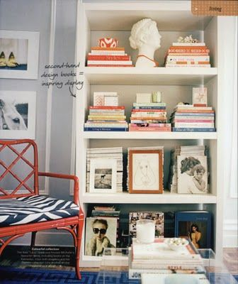 bright colors, white bookshelf, bamboo chair