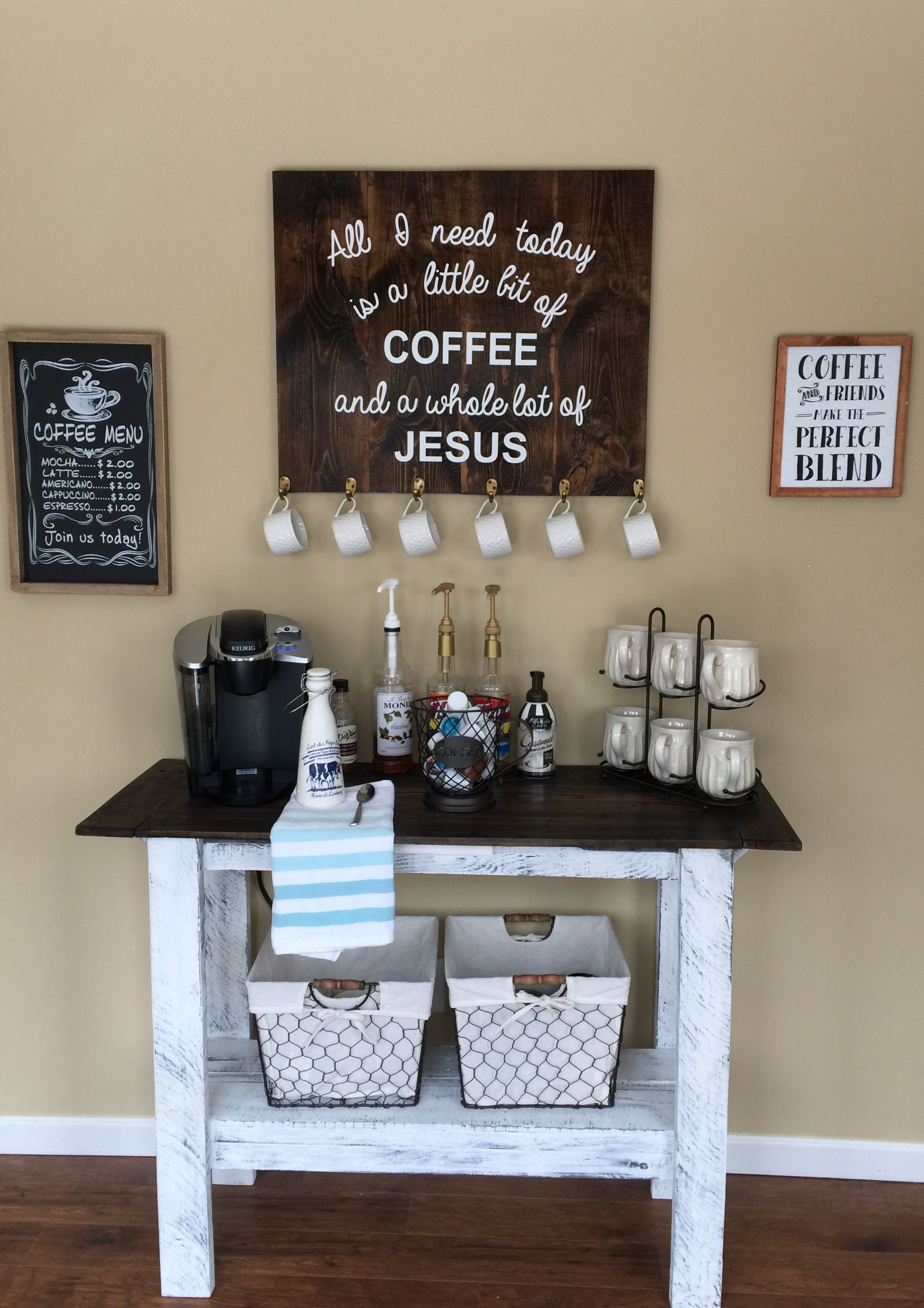 Coffee Bar Decor Kitchen Rustic Country