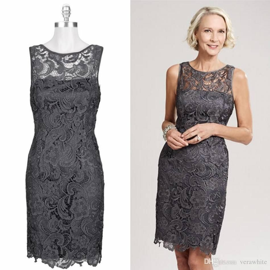 Beach wedding mother of the bride  New Lace Mothersu Dresses Sheath Scoop Neck Gray Zipper Back Knee
