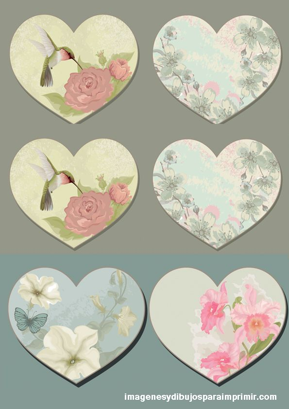 Beautiful Hearts to print | Decoupage obrázky | Pinterest | Formas ...