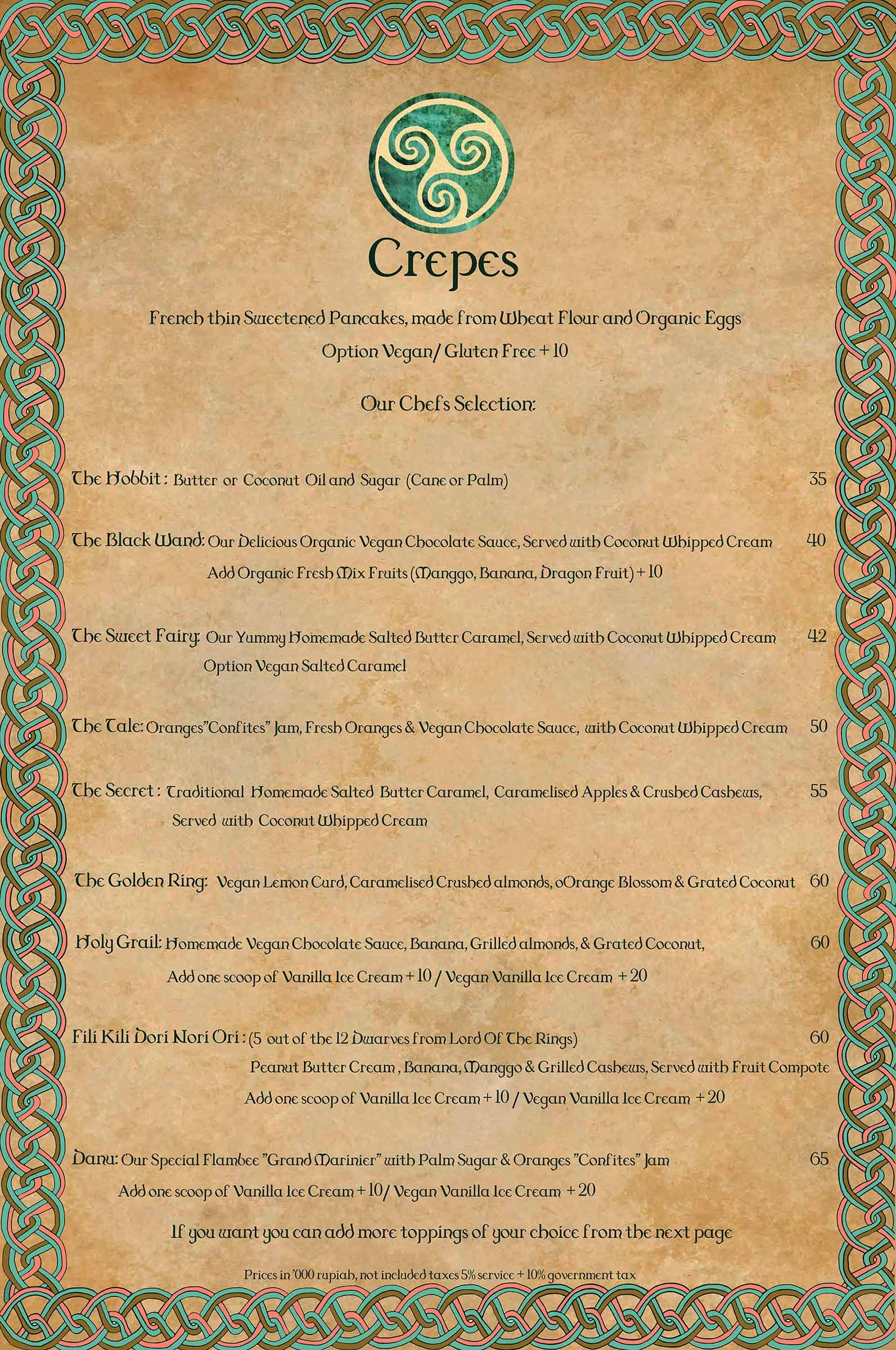 Menu JPG The Spell Crêperie (With images) Organic eggs