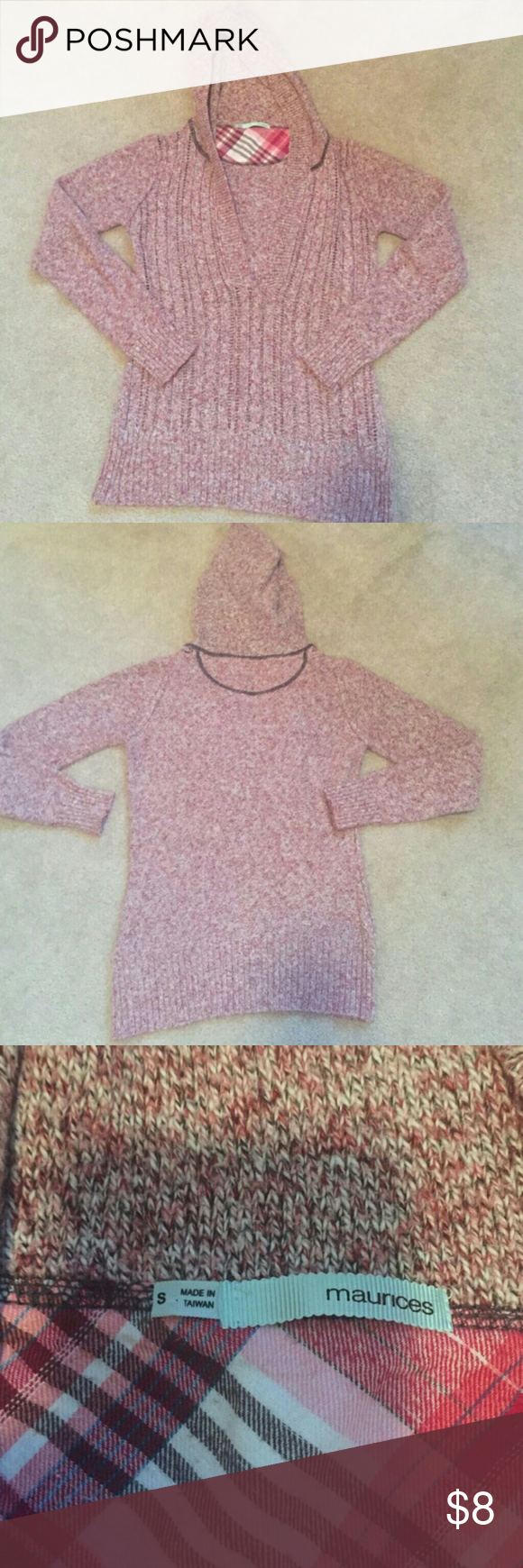 Maurice's V-neck hooded sweater Reposh!   EUC, super soft and light weight but warm // beautiful Heather pink color// the v-neck is just too low for my modesty level even with a cami Maurices Sweaters