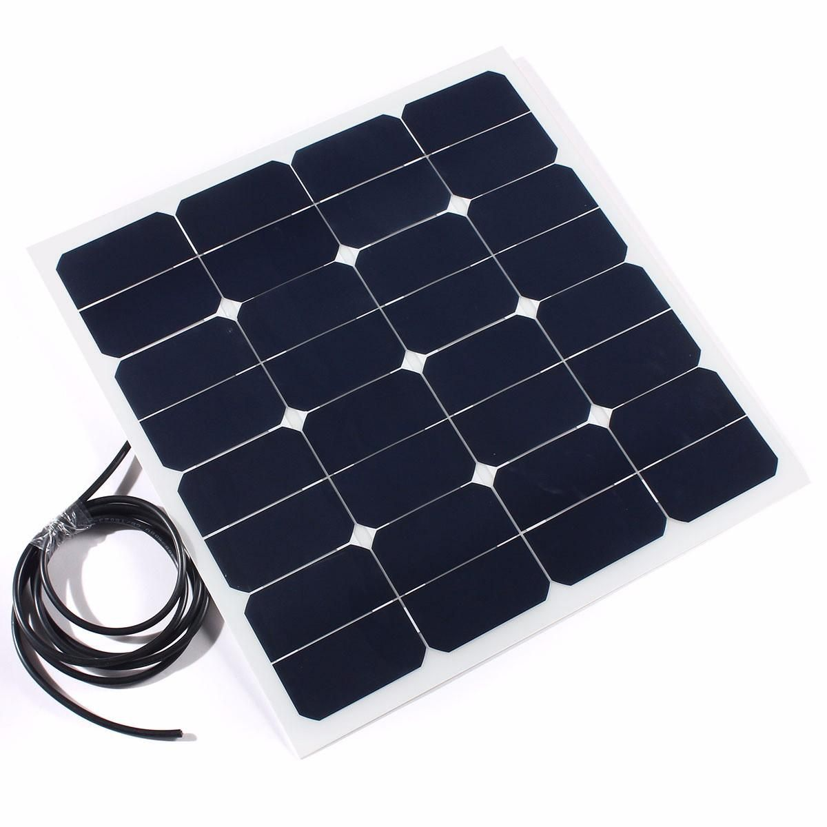 50w 12v Sunpower Chip Semi Flexible Solar Panel With 3m Cable