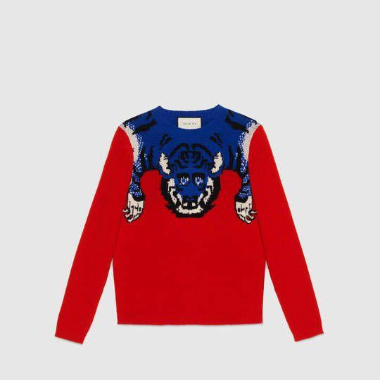 Gucci Sudadera de lana con tigre  795edd79efa