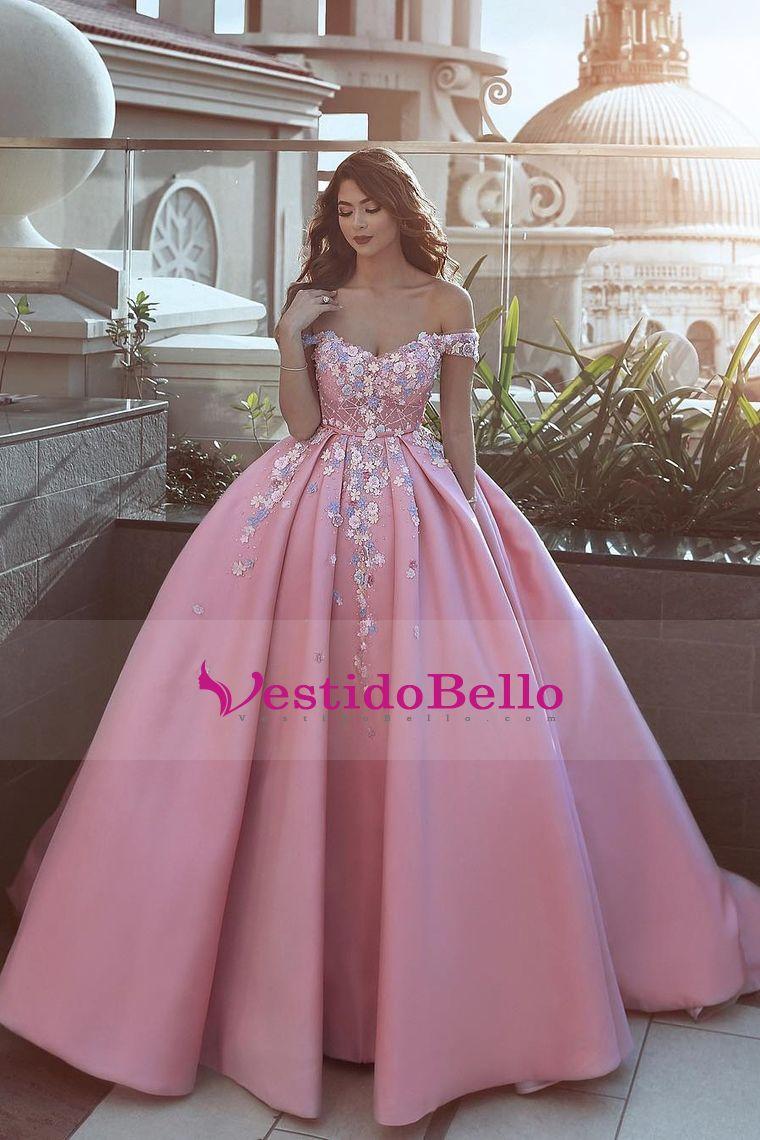 2018 Satin Off The Shoulder Una línea de vestidos de baile con ...