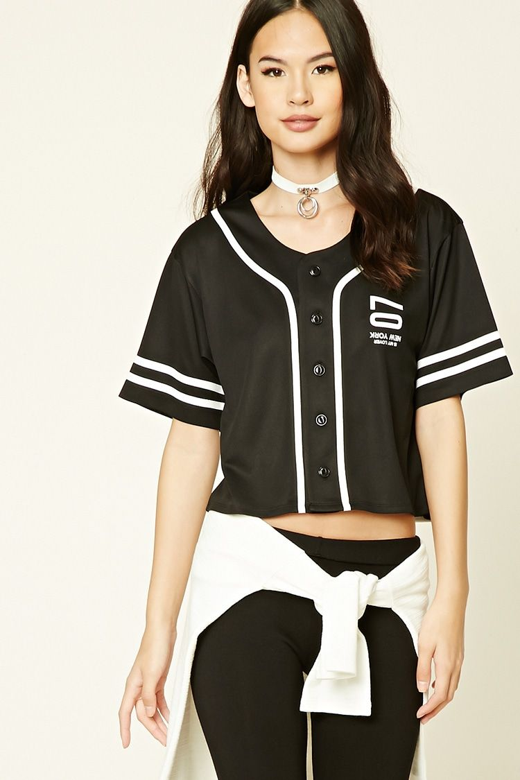 58120ad31 A cropped knit baseball jersey featuring an