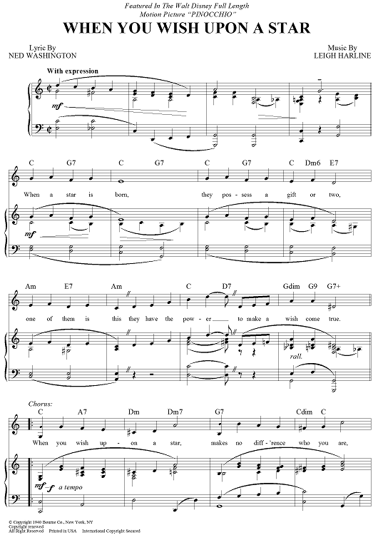 When You Wish Upon A Star Sheet Music By Ned Washington