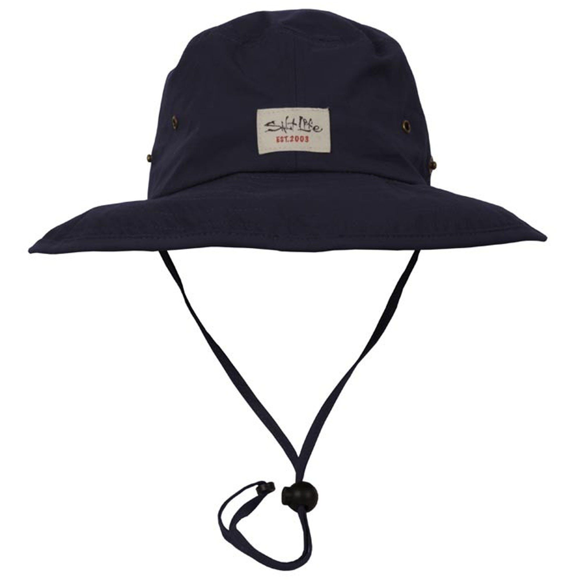 507e8466 The Salt Life Wanderer Boonie hat is made from 56% cotton, 39% nylon, 5%  spandex fabric. This men's hat features an adjustable strap with cinch  drawcord and ...