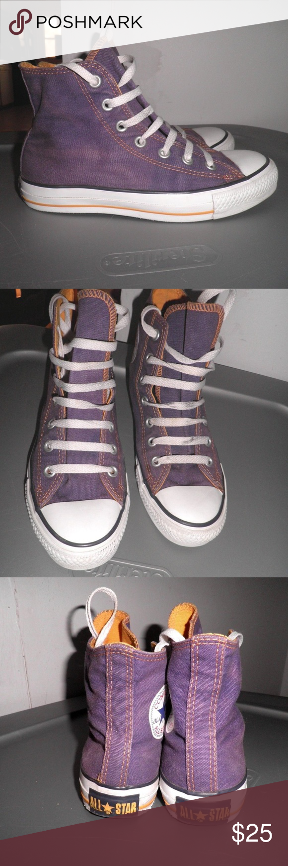 fc5ac3aa327c61 Converse Laker Purple with Yellow Stitching Perfect for your youth Laker  fan! Chuck Taylor high
