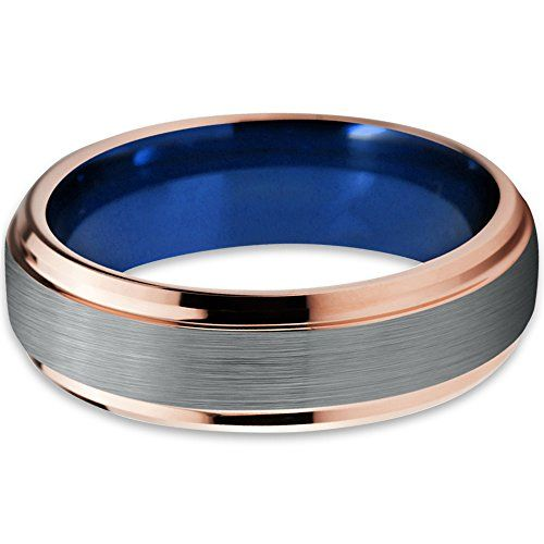 Tungsten Wedding Band Ring 8mm for Men Women Black /& 18K Yellow Gold Beveled Edge Brushed Polished Lifetime Guarantee