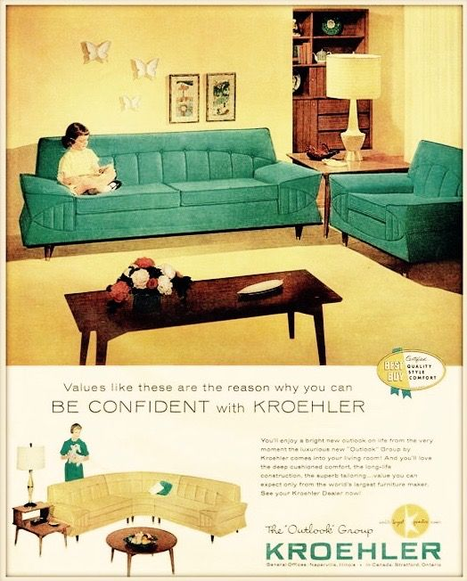 1959 ad for mid century modern furniture kroehler - Mid Century Modern Furniture Of The 1950s