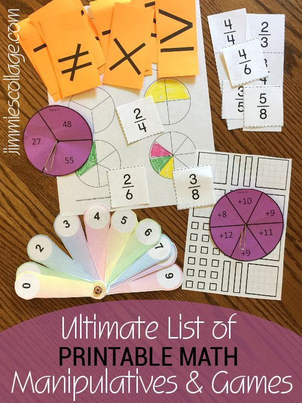 Ultimate List of Printable Math Manipulatives & Games for Homeschool ...