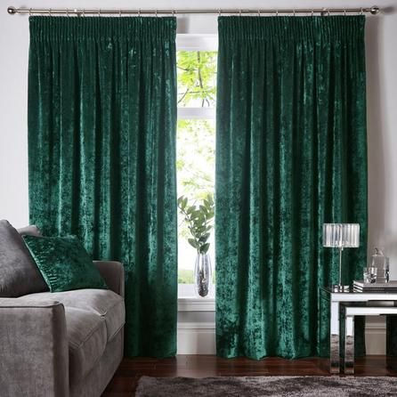 dunelm luxurious emerald green crushed velour pencil pleat curtains