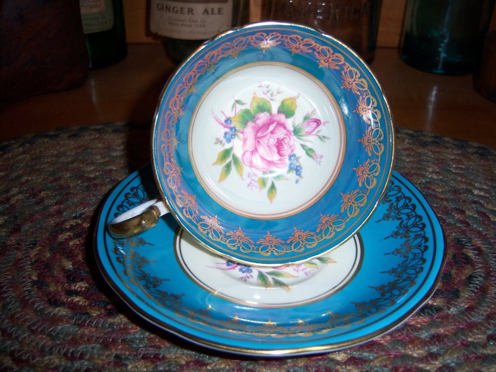 Aynsley China \u0026 Dinnerware   eBay & Aynsley Vintage Turquoise Hand Painted Pink Cabbage Rose Cup Saucer ...