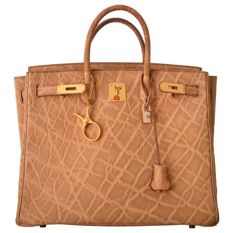 b2ebdfc8dd75 Hermes 32cm Haute a Courroies (HAC) Birkin Elephant skin Gold ...