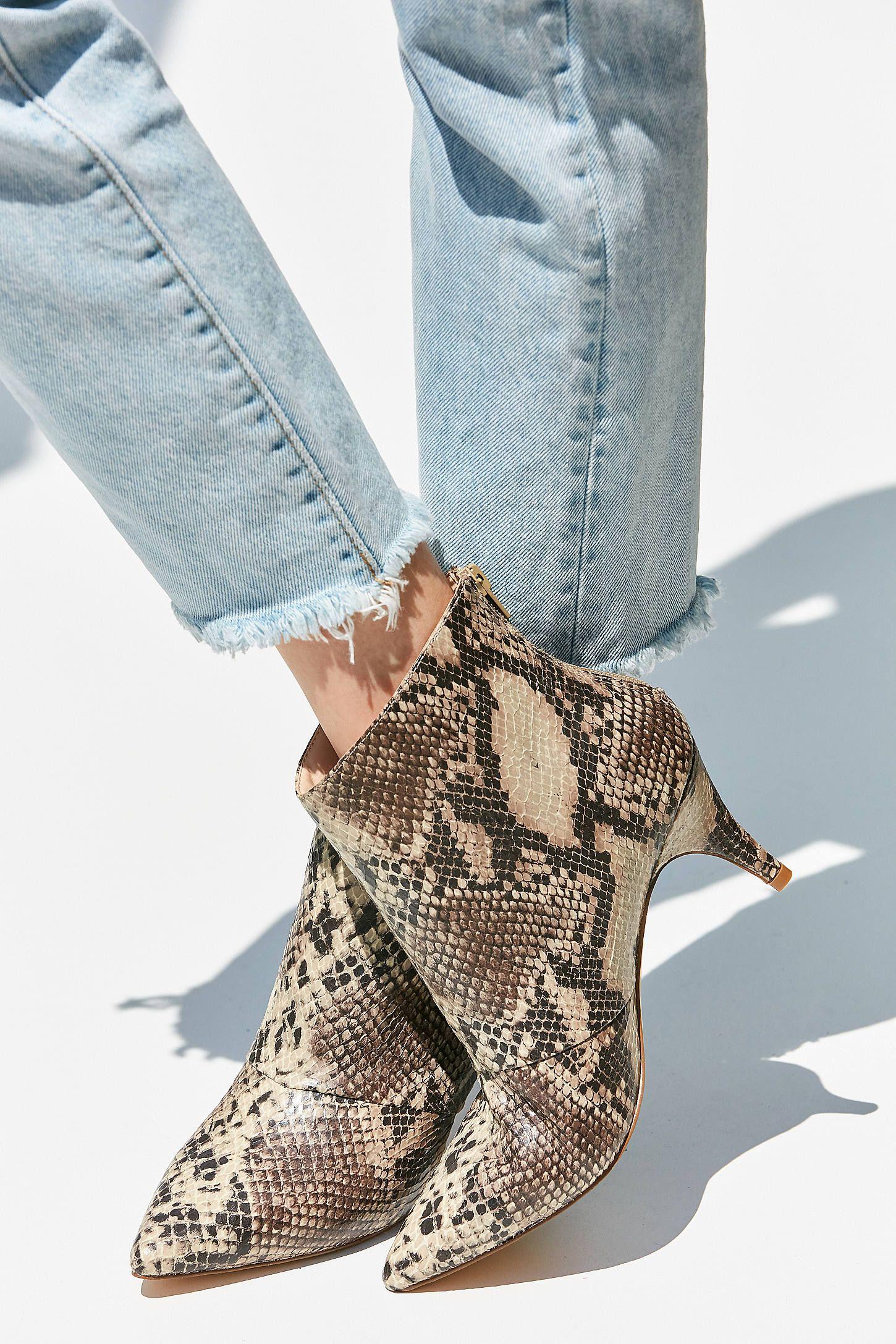Snakeskin Kitten Heel Ankle Boot Kitten Heel Ankle Boots Kitten Heels Outfit Boots