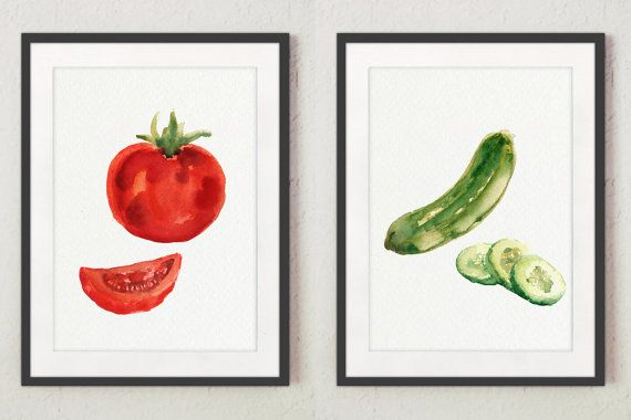 Cucumber Watercolor Tomato Painting Green Red Art Print set 2  #cucumber #painting #tomato #illustration #vegetables #art #decor #poster