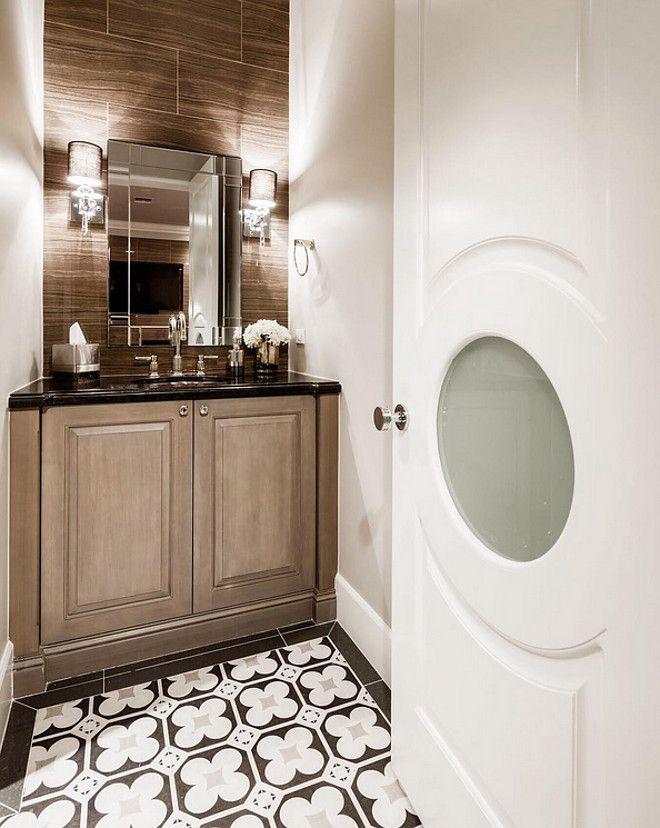 Powder Room Door And Floor Tile Great Idea For Powder Room Door And