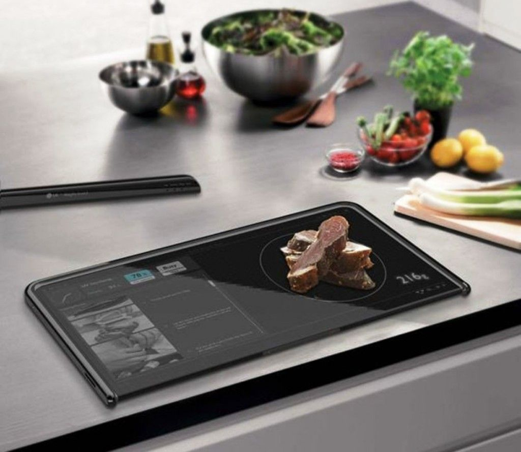 Kitchen: Digital Cutting Board Almighty Board By Yanko Design With An Ultra Hard Glass Touchscreen: High Tech Kitchen Gadget Design as Futuristic Kitchen Device