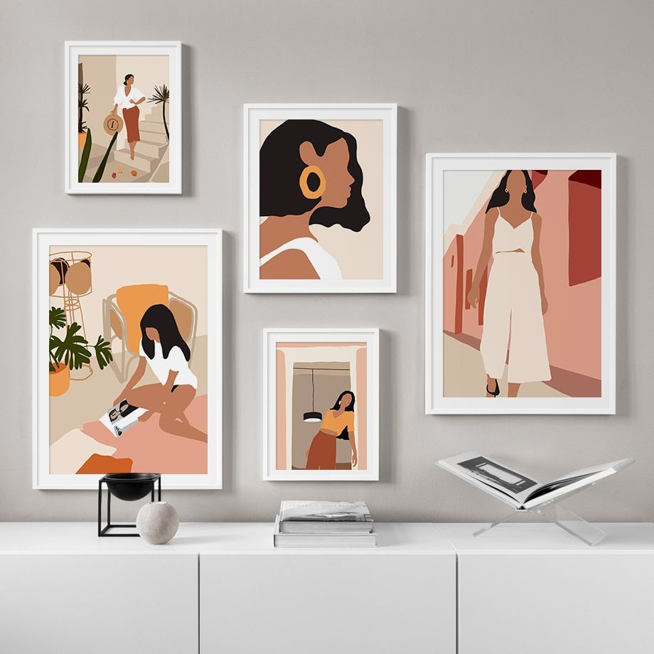 Abstract Fashion Vintage Girl Minimalist Wall Art Canvas Painting Nordic Posters And Prints In 2020 Graphic Wall Art Wall Art Canvas Prints Minimalist Wall Art