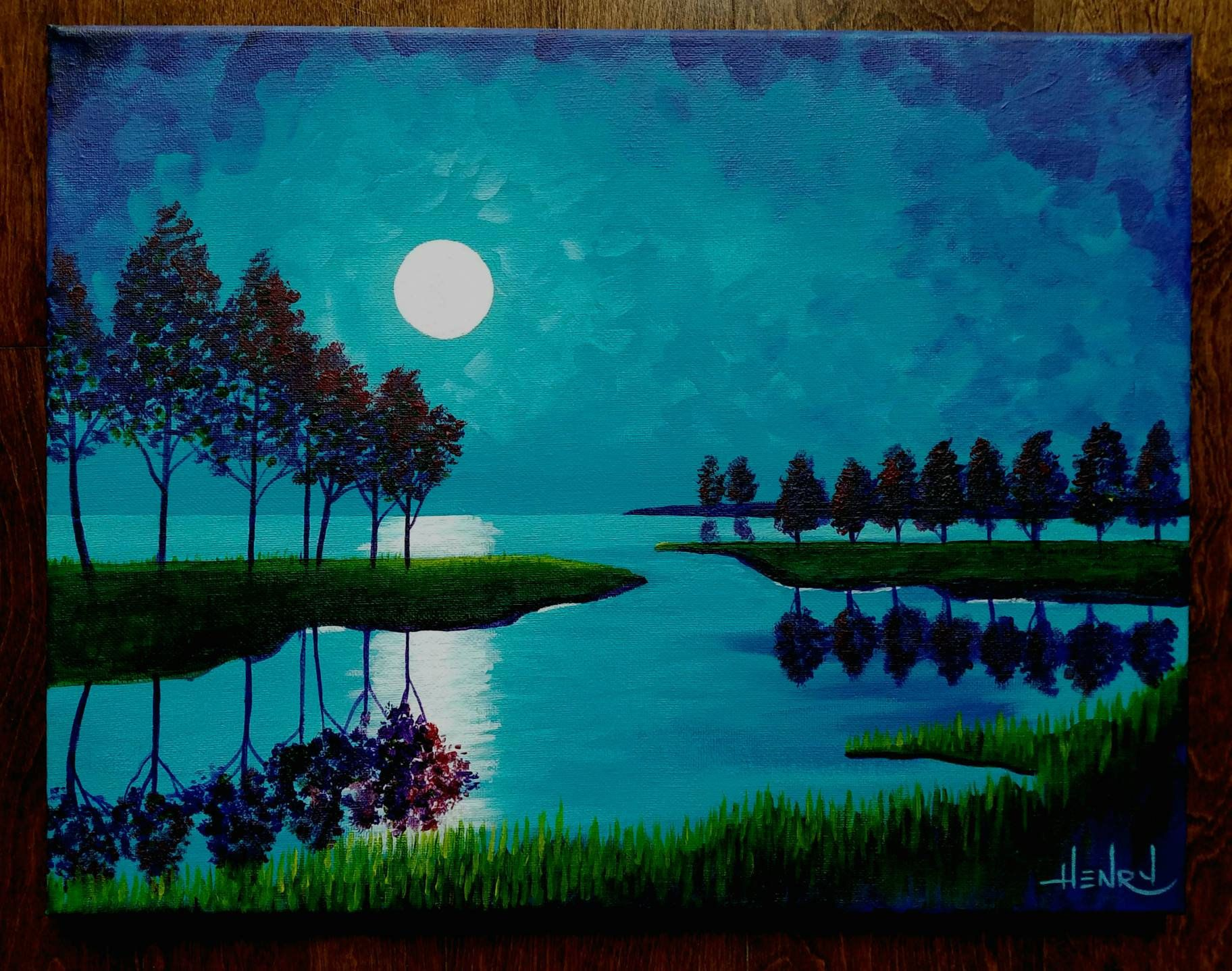 Summer Night Forest Lake Landscape Night Painting By Pamela Henry Turquoise Purple Moon Nocturn Wall Decor Home Or Office Art Lake Painting Lake Landscape Night Painting