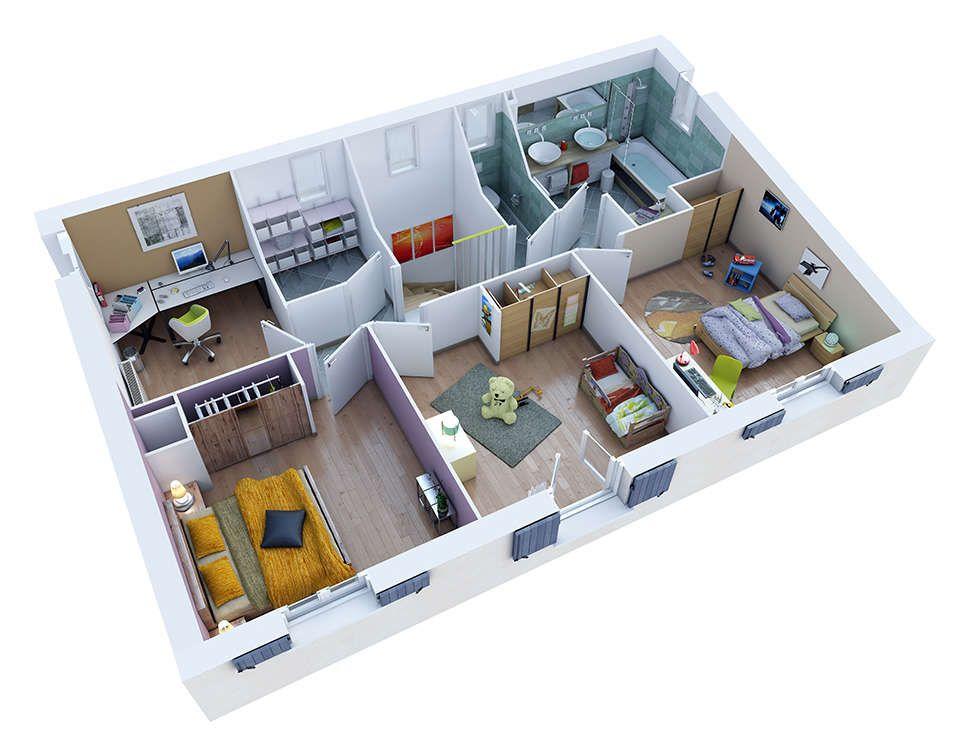castellet etage bd rvb72 Plan maison, Maison, Maison