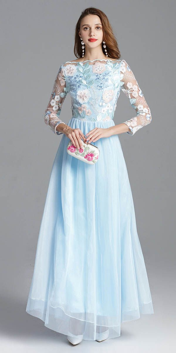 In Stock Romantic Embroidery Lace & Tulle Bateau Neckline ...