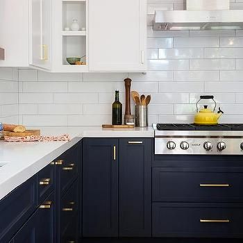 Navy Blue Kitchen With Floating Shelves Transitional Kitchen Kitchen Inspirations Kitchen Cabinets Makeover Kitchen Cabinetry