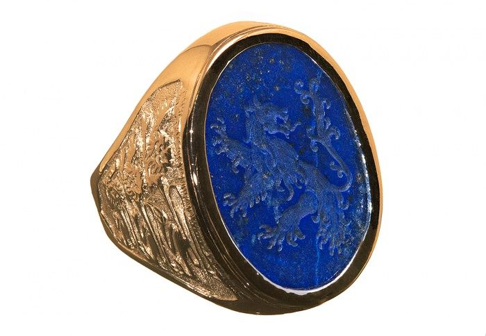 1154dc1e8c3d4 Lapis Lazuli Heraldic Lion Gold Plated Silver Ring   Rings in 2019 ...