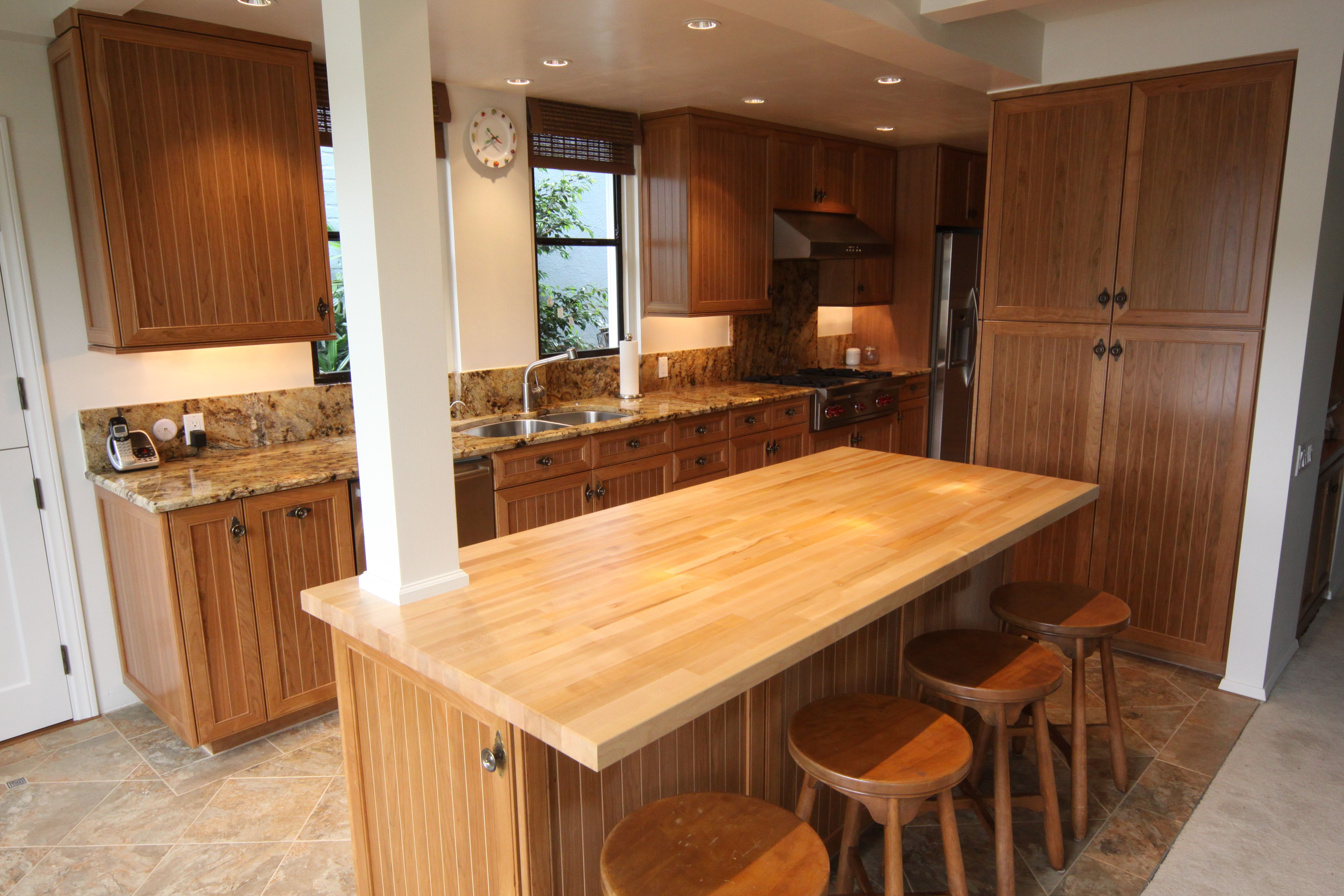 Best Finish For Butcher Block Countertop: Beautiful Cherry Cabinets With Clear Satin Lacquer Finish