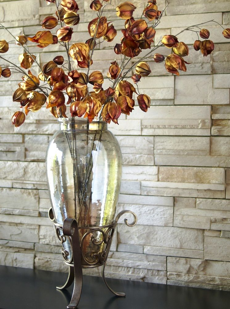 Pier 1 Glass Luster with Iron Stand Vase is a showstopper