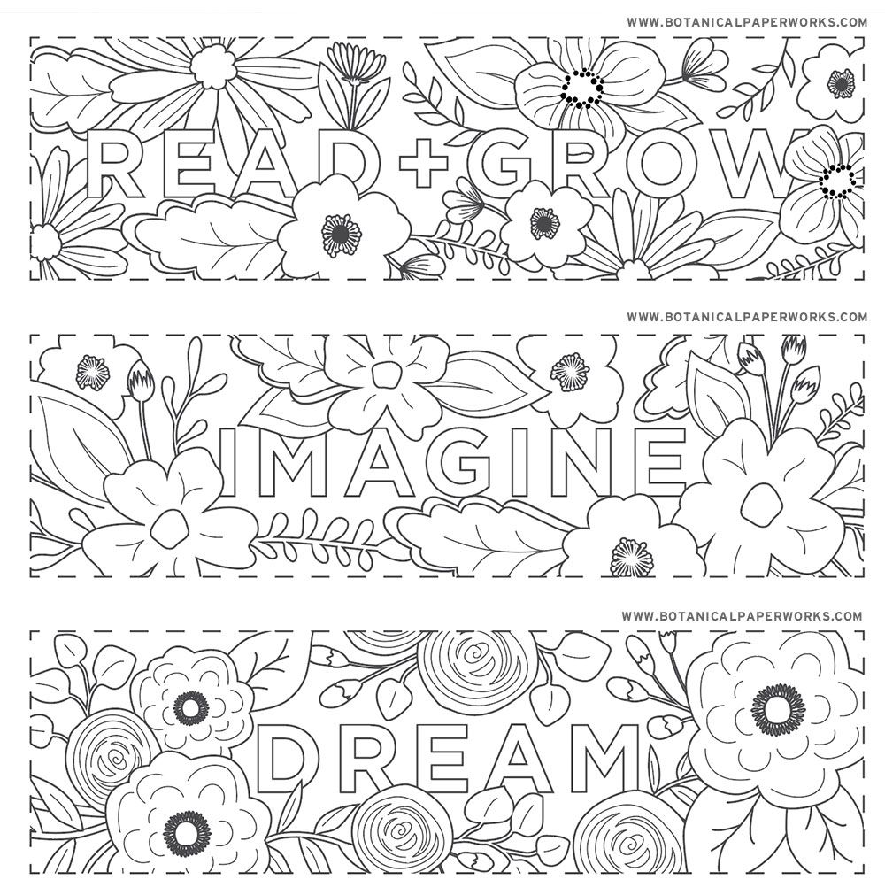 Free Printables Read Grow Coloring Bookmarks For Back To School