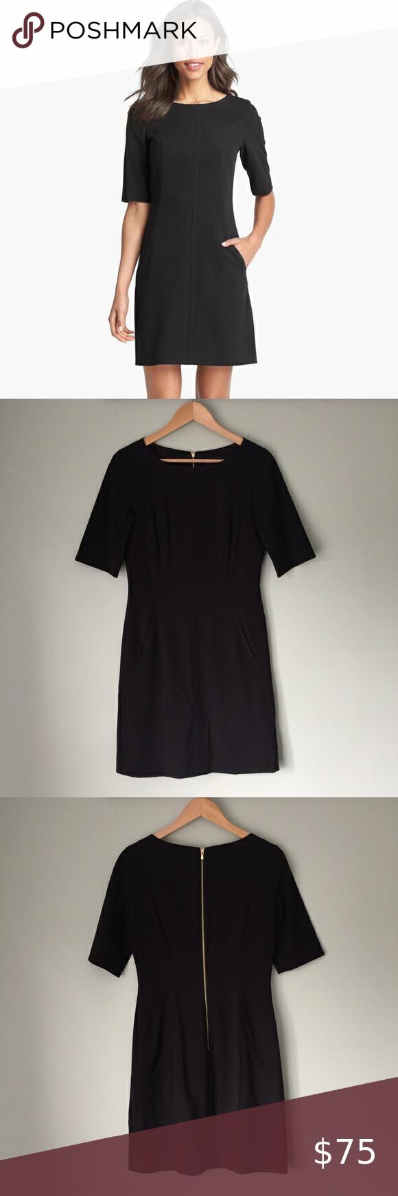 Tahari Seamed A Line Dress In Black A Line Dress Clothes Design Tahari Dress [ 1740 x 580 Pixel ]