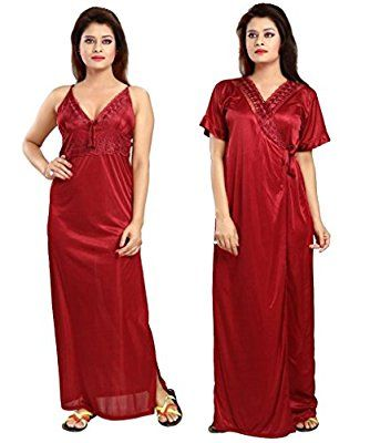 d3c0ce028f Fancy Netted 2 Pieces consisting Nighty and Robe Material- Soft and Fine  Quality Satin with