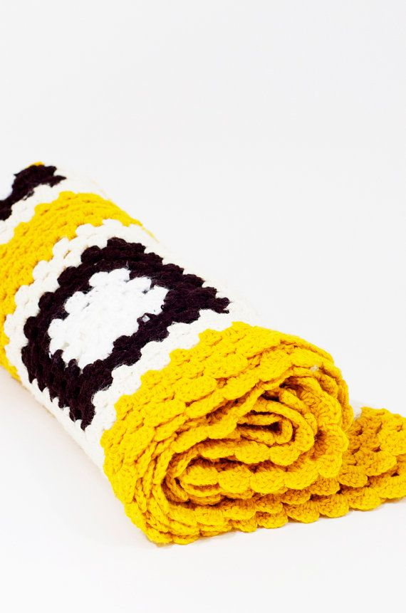 Mustard Yellow Brown White Granny Squares Crochet Blanket by ...