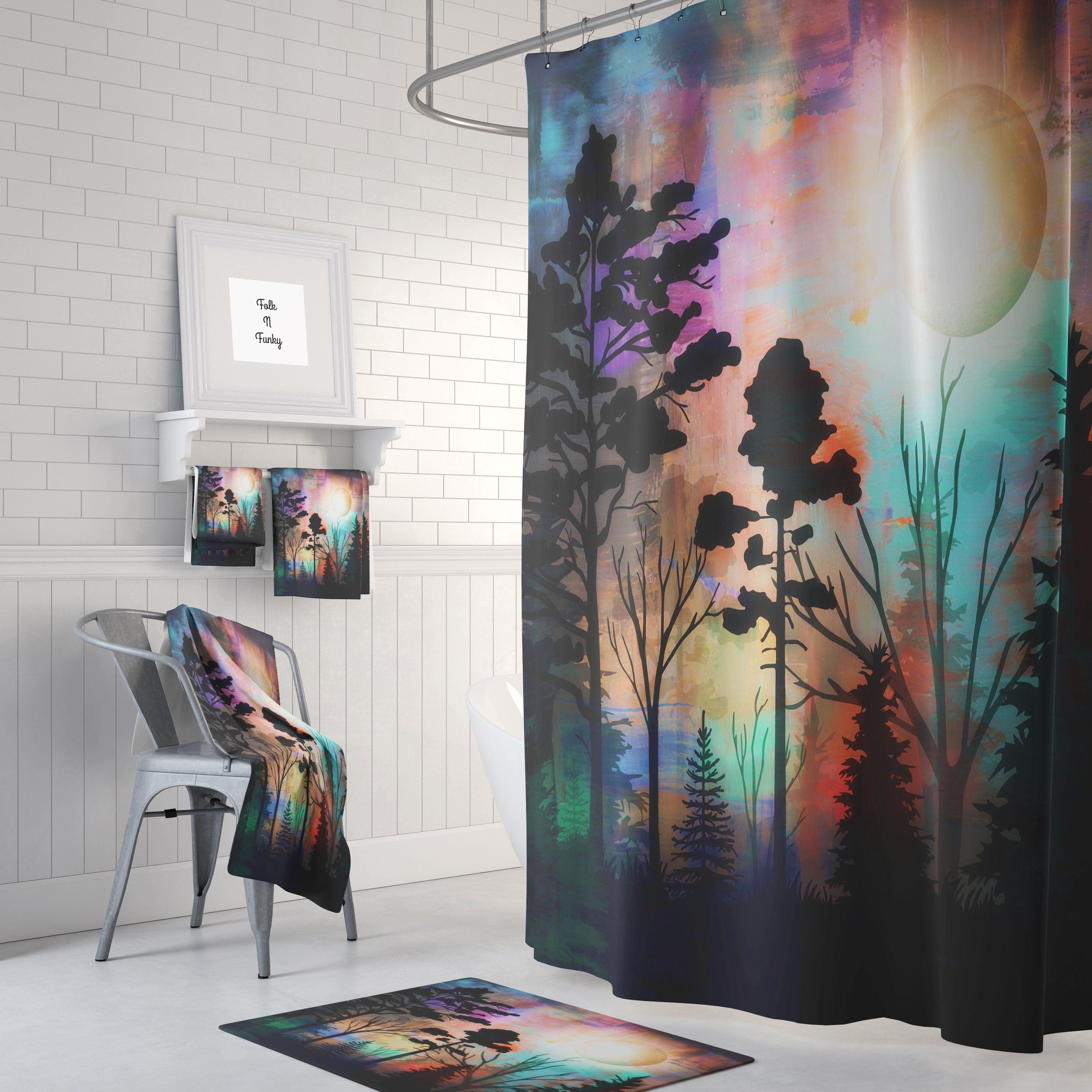 Forest Sunset Shower Curtain Forest Sunset Abstract Shower