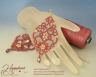 """ Sissi "" earrings Tatting and Swarovski"