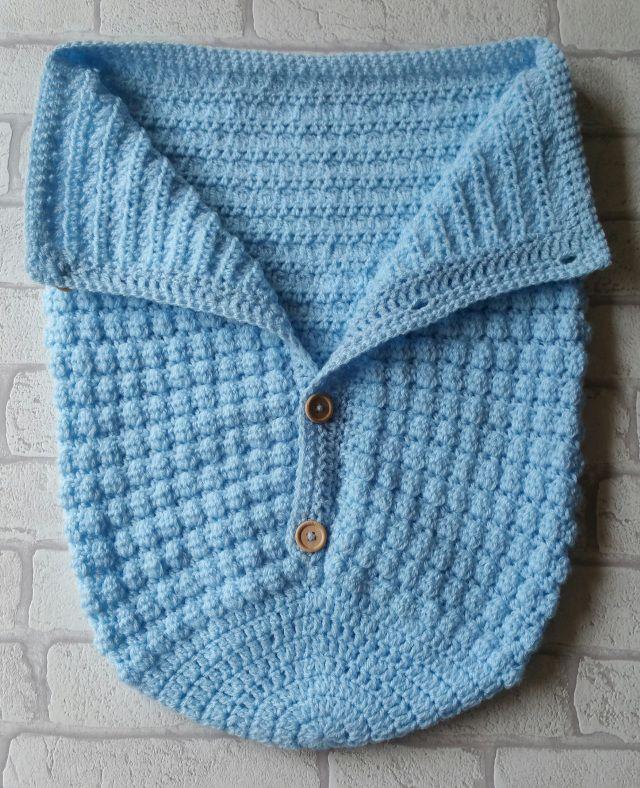 Baby Sleeping Bag Knitting Pattern Free : Baby boy crochet sleeping bag cocoon pattern