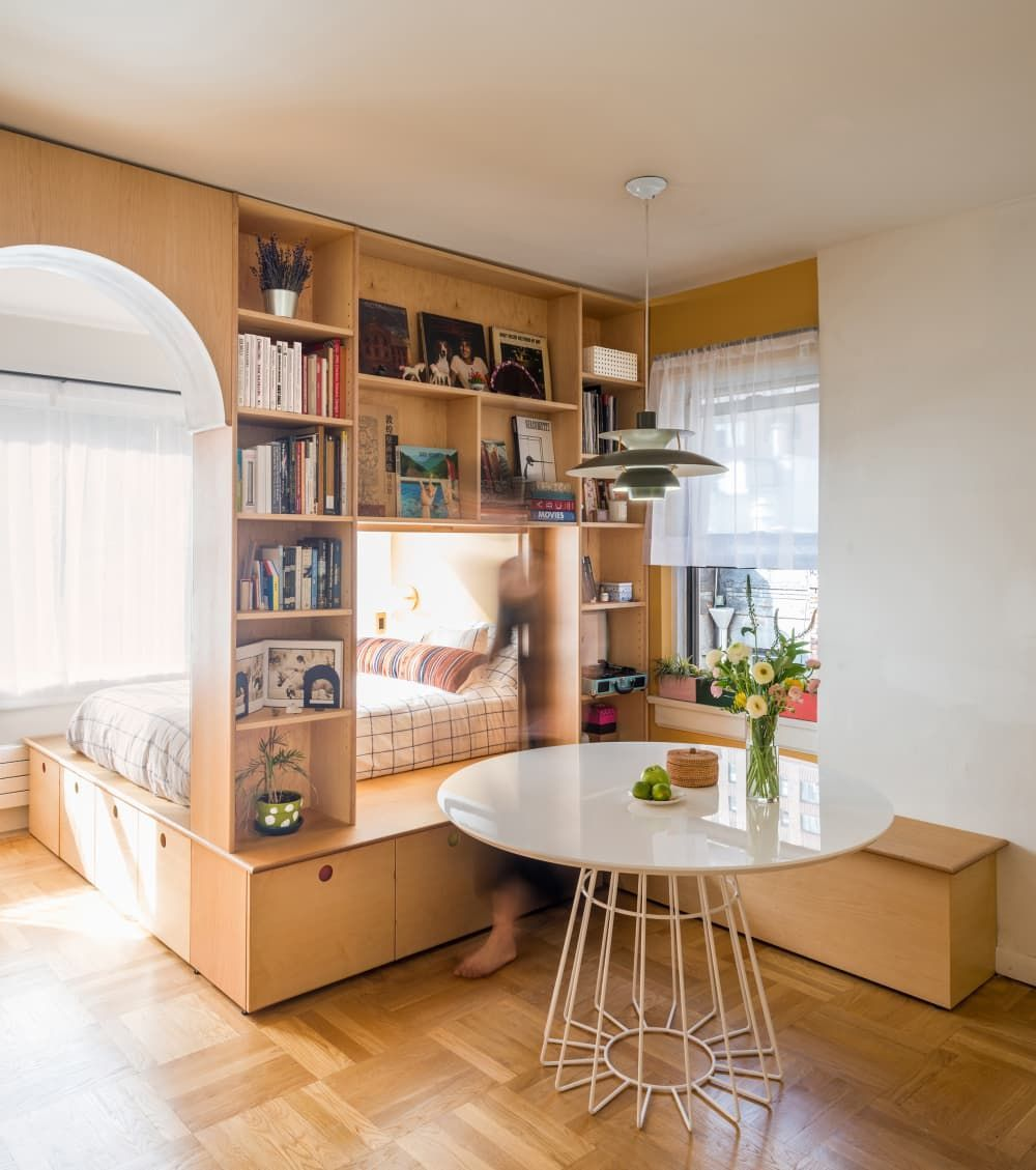 This Bookshelf Divider Brilliantly Makes a 450Square Foot