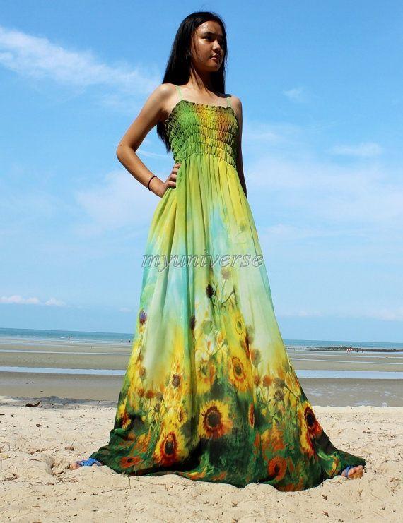 Sunflower Maxi Dress - Prom Bridesmaid Dress Plus Size Dress ...