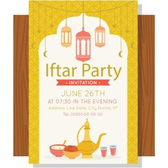 Free Vector Ramadan Iftar Party Invitation Card Design Iftar Party Party Invitations Iftar