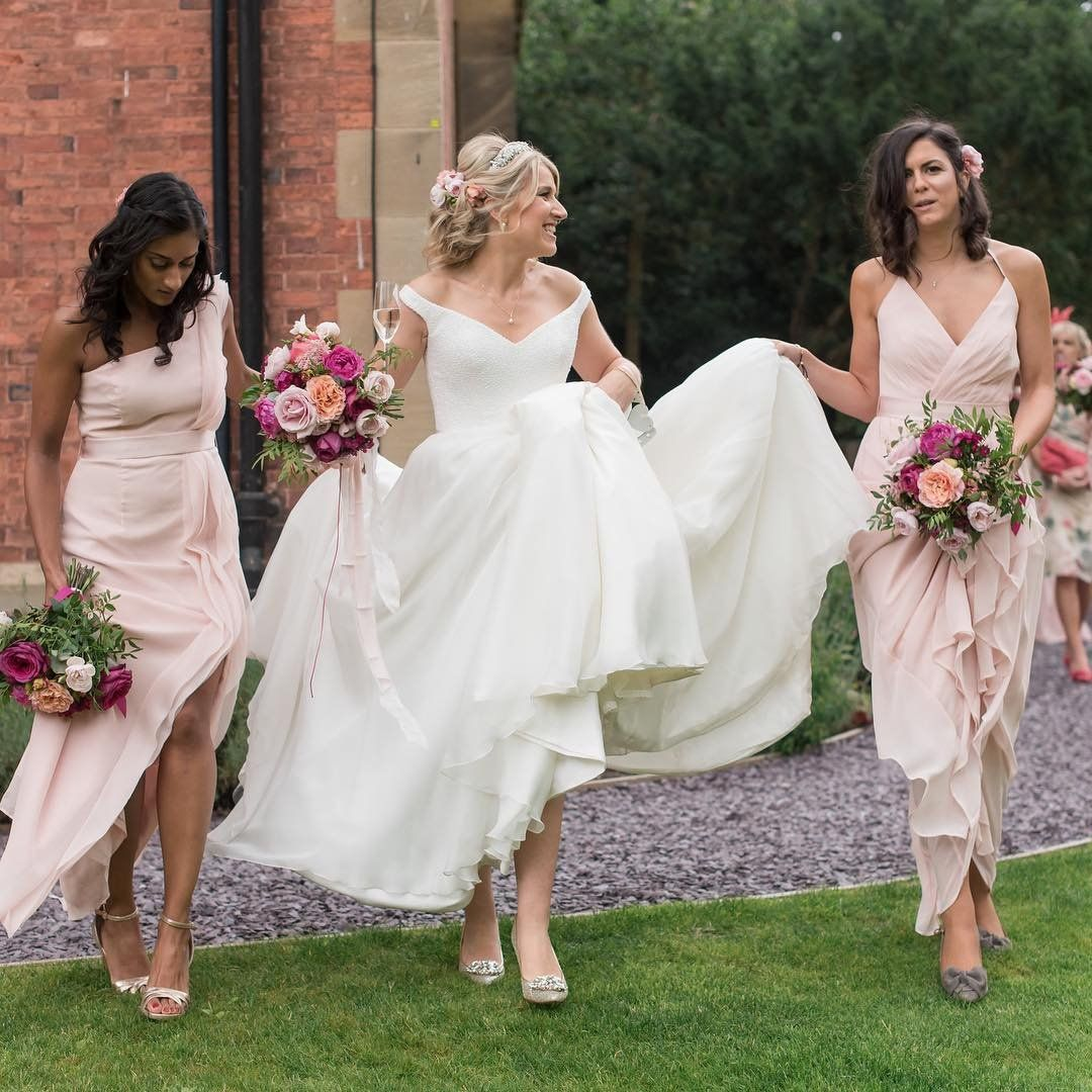 Davidus bridal bridesmaids in blush pink long bridesmaid dresses by